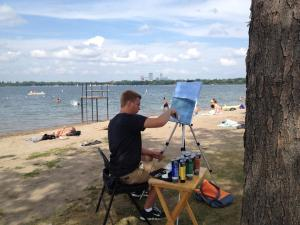 There was cross training for the students and my son painted by one of our urban lakes.