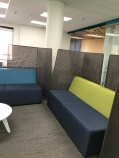 Moveable furniture and walls created small group space.