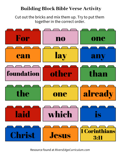 Building Block Bible Verse Activity